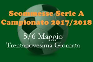 Scommesse 1X2 della trentaaeiesima giornata della Serie A di sabato 5 e do,emica 6 Maggio 2018