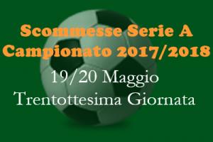 Le scommesse 1X2 della Serie A della trentottesima giornata del Campionato 2017-18 di sabato 19 e domenica 20 Maggio