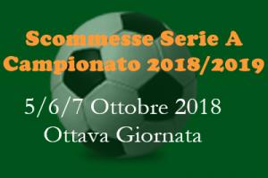 scommesse Serie A di venerdì 5, sabato 6 e domenica 7 ottobre per la ottava giornata del Campionato 2018-19