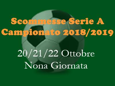 Scommesse 1x2 della Serie A di sabato 20, domenica 21 e lunedì 22 ottobre 2018