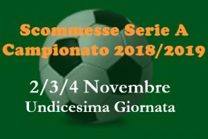 scommesse 1x2 della Serie A di venerdì 2, sabato 3 e domenica 4 Novembre 2018