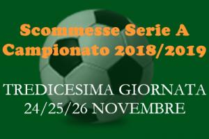 Le scommesse 1X2 della Serie A per le partite di sabato 24, domenica 25 e lunedì 26 Novembre 2018