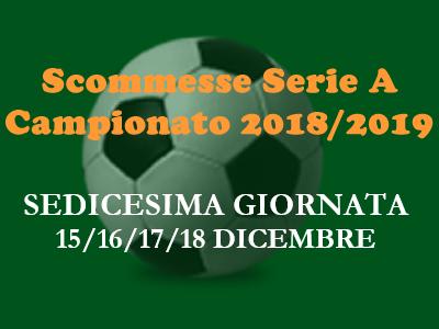 Scommesse 1X2 della Serie A per le partite del 15, 16, 17 e 18 Dicembre 2018