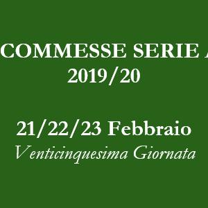 Consigli e pronostici per le scommesse della venticinquesima giornata della Serie A di venerdì 21, sabato 22 e domenica 23 Febbraio 2020